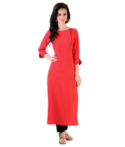 Fuoko  Red Color Crepe Women Partywear Kurtis - FWAPKU040RED