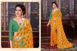 Fashion Zonez Rubber Print Two Ton Net Musterd Designer Saree With Blouse $ FZ 2578