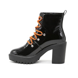 London Rag Women's Black Lace up Chunky Boots-SH1461Black