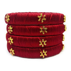 Ailsie Stylish Fashion Beautiful Silk Thread Kada Bangle Maroon With Gold Star