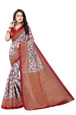 16TO60TRENDZ Grey Color Printed Bhagalpuri Silk Saree $ SVT00504
