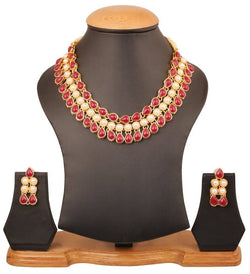 Gold Plated Alloy Metal Hand Crafted Work Women's Red Pearl Necklace Set for Women $ AF788626