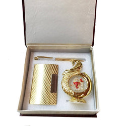 Gold Plated Pen And Gold Plated Visiting Card Holder And Gold Plated Peacock Shape Ganesh God Idol for Car Dashboard (Gold, 12 Cm) Exclusive Gift Items for Diwali Gift, Wedding Gift and Corporate Gift $ IGSPBR1047