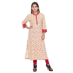 Chhapai 3/4 Sleeve Printed Red Straight Cotton Kurti $ CK-1037