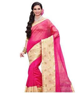 Dak pink supernet & chanderi patch work designer saree