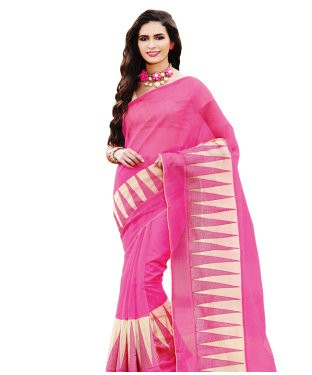 Pink embroidered supernet saree