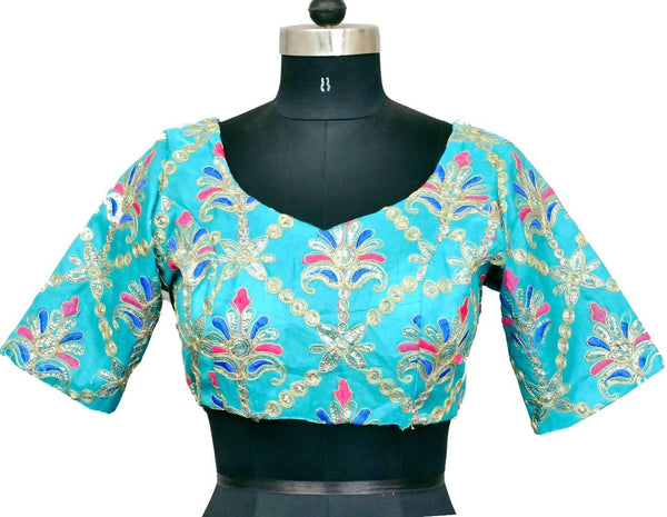 Stitch O Fab Aqua green Zari work Women Blouse-SOFazewb138