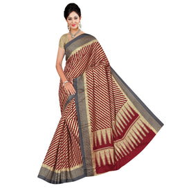 BL Enterprise Women's Bhagalpuri Cotton Silk Maroon Color Saree With Blouse Piece $ BLLB-48