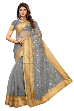 YOYO Fashion New Latest Poli Net Pesch Embroidered Saree With Blouse $ YOYO-SARI2641