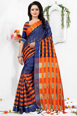 YOYO Fashion Latest Fancy Ora Dhupian Dark Orange  Saree  SARI_2580 Dark Orange
