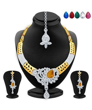 Sukkhi Pleasing Gold & Rhodium Plated AD Necklace Set with Set of 5 Changeable Stone For Women