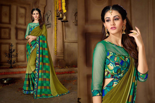 Fashion Zonez Printed Vichitra Silk Mehendi Green Designer Saree With Blouse $ FZ 2678