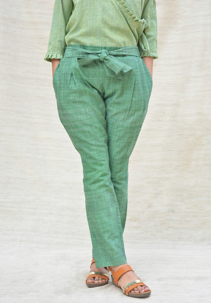 Green Khadi Cotton Tie-up Pants $ IWK-003668