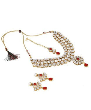 aradhya Copper, Crystal, Metal Jewel Set (Maroon, Gold)