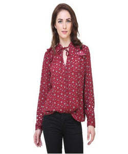 REDPOSE RED FLORAL PRINTED CASUAL SHIRT