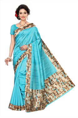 BL Enterprise Women's Bhagalpuri Cotton Silk Kalamkari Blue Color Saree With Blouse Piece $ BLLB-35