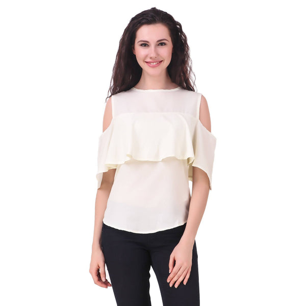 Fame16 Sleeveless Solid Women'S Round Neck Off White Crepe Top $ F16-1600202