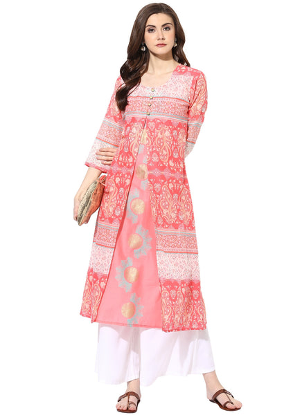 AANVI Women's Pink Cambric Printed Layered Kurta $ 7000006-PINK