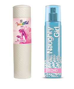 BEAUTIFUL TALC 250gm LAURING & Naughty Girl ECHO 135 ml (Set of 2 for Women)