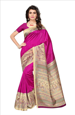 BL Enterprise Women's Bhagalpuri Cotton Silk Kalamkari Pink Color Saree With Blouse Piece $ BLLB-30
