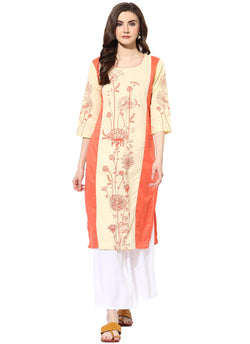 Mytri Women's Cream & Orange Rayon Printed Straight Kurta $ 9000487-WHITEORANGE