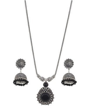 Aradhya Metal Jewel Set (Silver, Black)