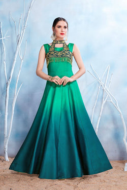 Manvi Fashion Women's Green Color MODAL SATIN-(PURE FEB) Fabric Embroidery & Stone Work Gown $ MF 2149
