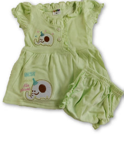 Gift Pack- Cute Cotton Green Frock Combo With Panty With Himalaya Baby Soap $ CP_SC016