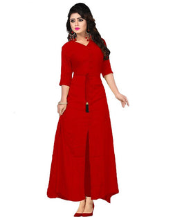 Muta Fashions Women's Stitched Casual Crepe Red Kurti $ KURTI345