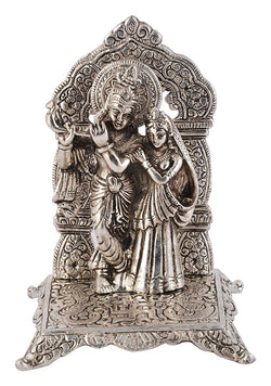 Silver Plated Radha Krishna God Idol Murti with Beautiful Velvet Box Packing (22 cm, Silver) Gold Plated Ball Pen Amount - 250 Rs Free Gift Inside This Box Limited Stock Available $ GSI-111