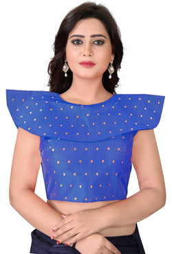 YOYO Fashion Blue Malbari Solid Extra Sleeve With Blouse $YOYO1-BL4003-Blue