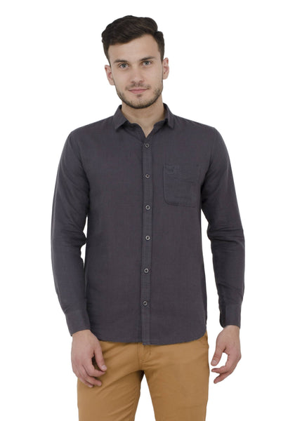 Baluchi Solid Regular Full Sleeve Linnen Grey Formal Shirt $ BLC_MNSHIRT_14