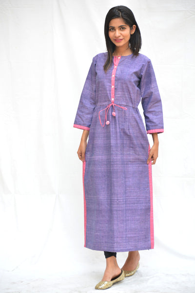 Purple Khadi Cotton Drawstring Tunic $ IWK-000498