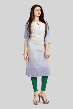 16TO60TRENDZ White and Purple Cotton Printed Stiched long Kurti $ SVT00181
