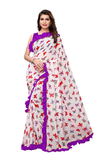 YOYO Fashion Georgette Printed Ruffle Saree $ YO-SARI2656-Purple