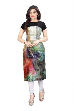 Manvi Fashion Women's Designer Partywear Multi Color American Crepe Fabric Digital Printed Readymade Kurti $ MF 2842