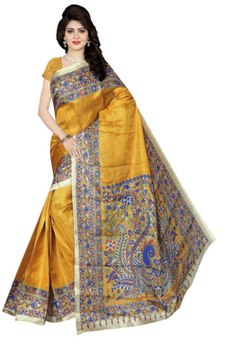 BL Enterprise Women's Bhagalpuri Cotton Silk Kalamkari Yellow Color Saree With Blouse Piece $ BLLB-26