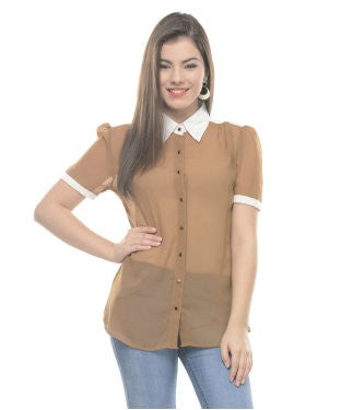 Drapes & Silhouettes Brown And White S/S Shirt