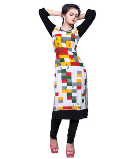 Muta Fashions Women's Stitched Polyster Cotton Multicolor Kurti $ KURTI415