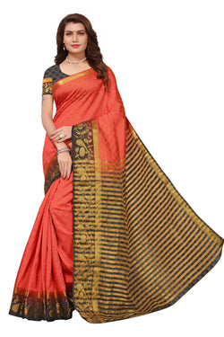 16to60trendz Red and Black Tusar Silk Handloom Art Work Kanjivaram saree $ SVT00037