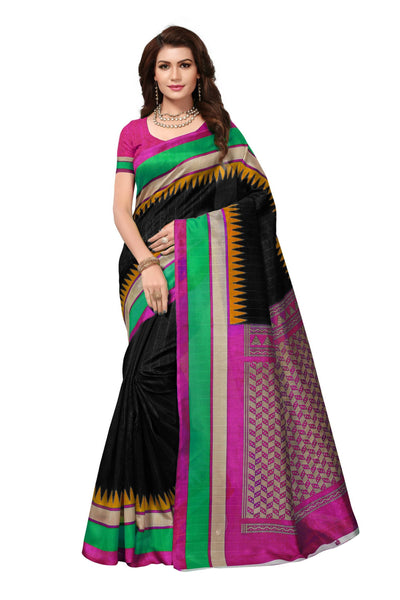 16TO60TRENDZ Black Color Printed Bhagalpuri Silk Saree $ SVT00443