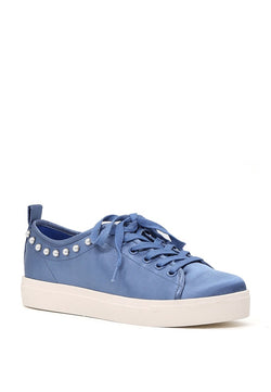 London Rag Women Blue Metallic Pearl Lace Up Sneakers $ SH1587