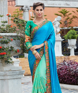 Blue Silk And Jecart Embroidery Saree with Blouse