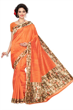 BL Enterprise Women's Bhagalpuri Cotton Silk Kalamkari Orange Color Saree With Blouse Piece $ BLLB-33