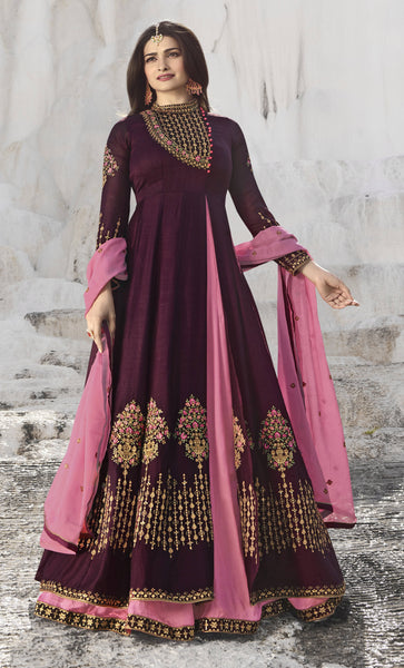 YOYO Fashion Viscose Satin Wine Embroidered Semi-stitched Anarkali Salwar Suit $ YO2-F1261