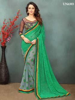 Umang NX Green Georgette Designer Printed with Embroidery Sarees $ UN6383