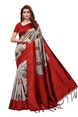 16to60trendz Red Art Silk Printed Mysore Art Silk Saree $ SVT00211
