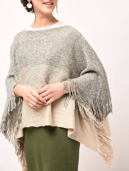 Aiyra Grey Color wollen fringed edge boat neck poncho $ AR15801889_free size