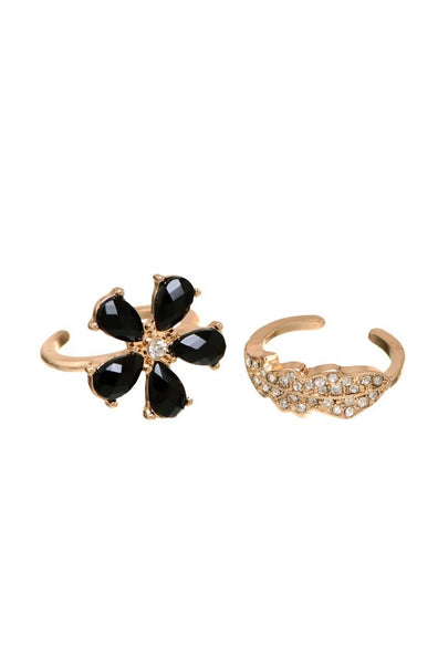Midnight Bloom Rings Stack - JIAFRIN5760
