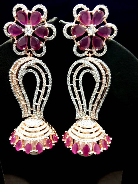 Gaurik Designer Earrings with white american diamonds & pink color stones $ Nilu_Jewel_139